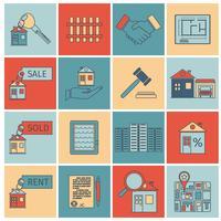 Icônes de ligne plate immobilier