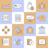 Icônes de finances mis en ligne plate