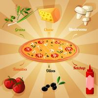 Affiche des ingrédients de la pizza vecteur