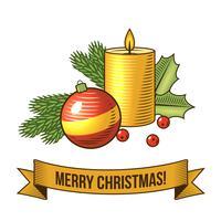 Icône de bougie de Noël vecteur