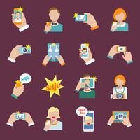 Selfie icônes plates