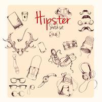 Ensemble de croquis de hipster