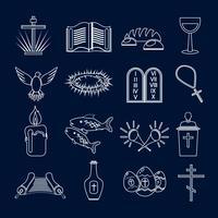 Contour d'icônes de christianisme vecteur