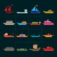 Ensemble d'icônes de navires et bateaux vecteur