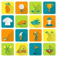 Jeu d'icônes de golf vecteur