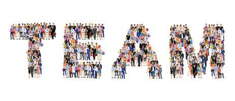 Affiche de l'équipe de groupe de personnes vecteur