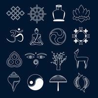 Contour d'icônes de bouddhisme