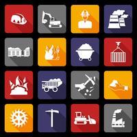 Icônes de l'industrie du charbon à plat vecteur