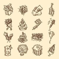 Jeu d'icônes de croquis d'anniversaire vecteur
