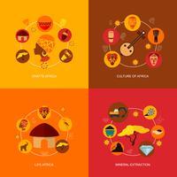 Composition plate d'icônes d'Afrique vecteur