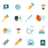 Tests médicaux icônes à plat vecteur