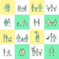 Famille icônes définies ligne plate vecteur