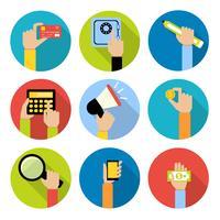 Icônes de mains d'affaires