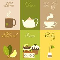 Set d'affiches mini thé vecteur