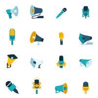 Icônes de microphone et mégaphone à plat vecteur