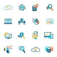 Icônes d'analyse de base de données à plat