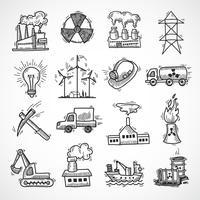 Jeu d'icônes de croquis industriels