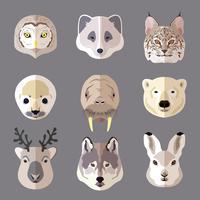 Jeu d'icônes plat portrait animal