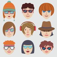Visages fille hipster vecteur