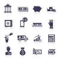 Jeu d'icônes de service bancaire noir