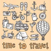 Set d'icônes de croquis de voyage vecteur