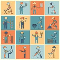 Ligne plate d'icônes de travailleur de construction