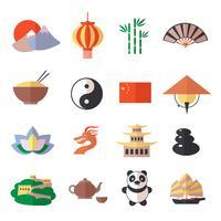 Jeu d'icônes de Chine vecteur