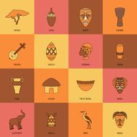 Afrique Icons Line Flat vecteur
