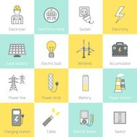 Électricité Icône Ligne plate