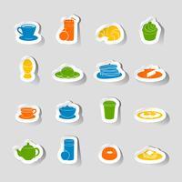 Autocollant d'icône de petit-déjeuner vecteur
