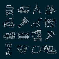 Contours d'icônes de construction vecteur