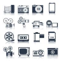 photo video icons set black vecteur