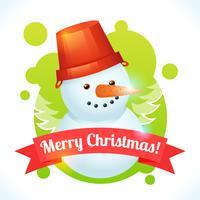 Carte de bonhomme de neige de Noël vecteur