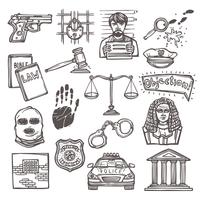 Esquisse d'icônes de droit vecteur