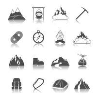 Icônes de montagne noires