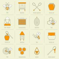 Abeille miel icônes ligne plate définie