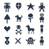 Personnages de jeu de pixels vecteur