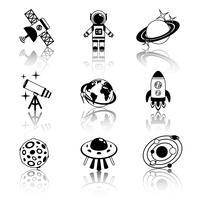 Ensemble d'icônes de l'espace noir et blanc