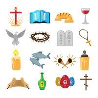 Jeu d'icônes de christianisme vecteur