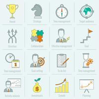 Ligne plate de planification de stratégie commerciale icône