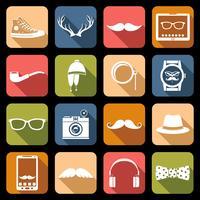 icônes de hipster plat