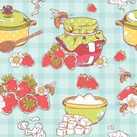 Modèle sans couture de confiture de fraises vecteur