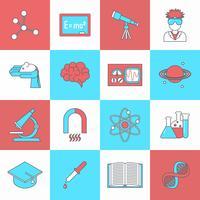 Science et recherche icône plate