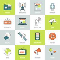 Icônes des médias ligne plate