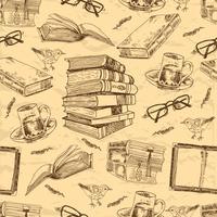 Modèle sans couture de livres vintage vecteur
