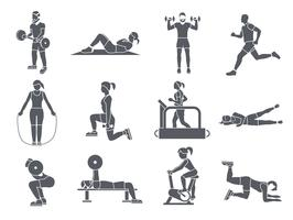 Gym Sport Exercices Icons vecteur