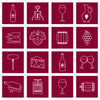 Vin icônes définies contour