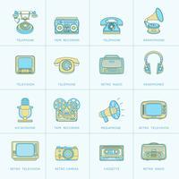 icônes de ligne plate de médias rétro vecteur