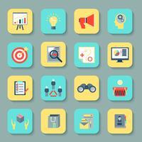 Marketers plats icônes définies vecteur