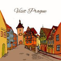 Carte postale vieille ville vecteur